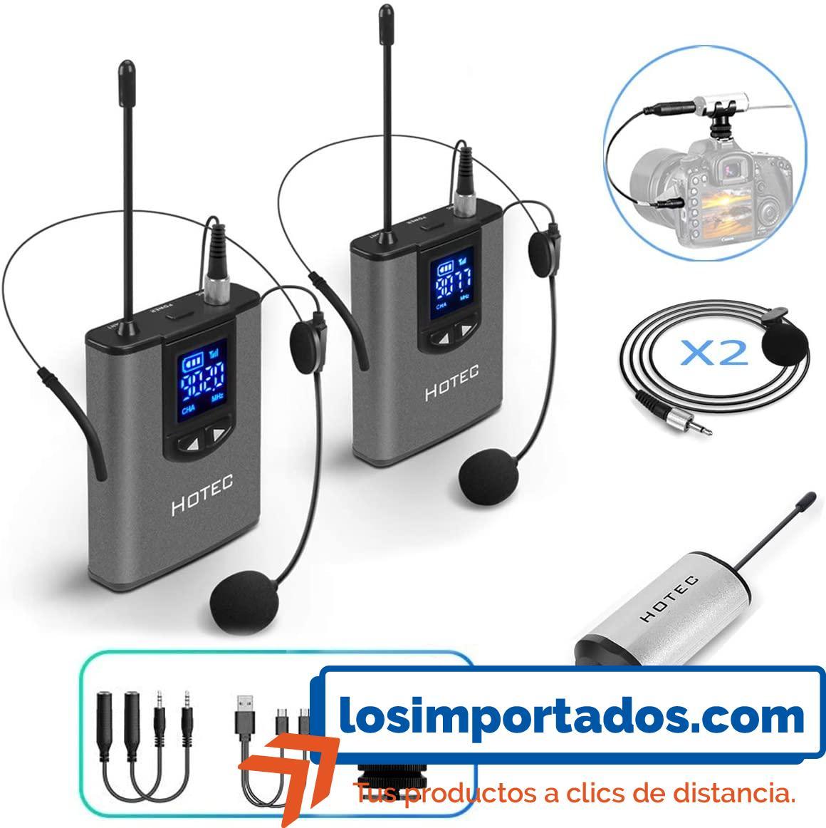 Hotec - Micrófono de auriculares inalámbricos para grabación y amplificador de voz
