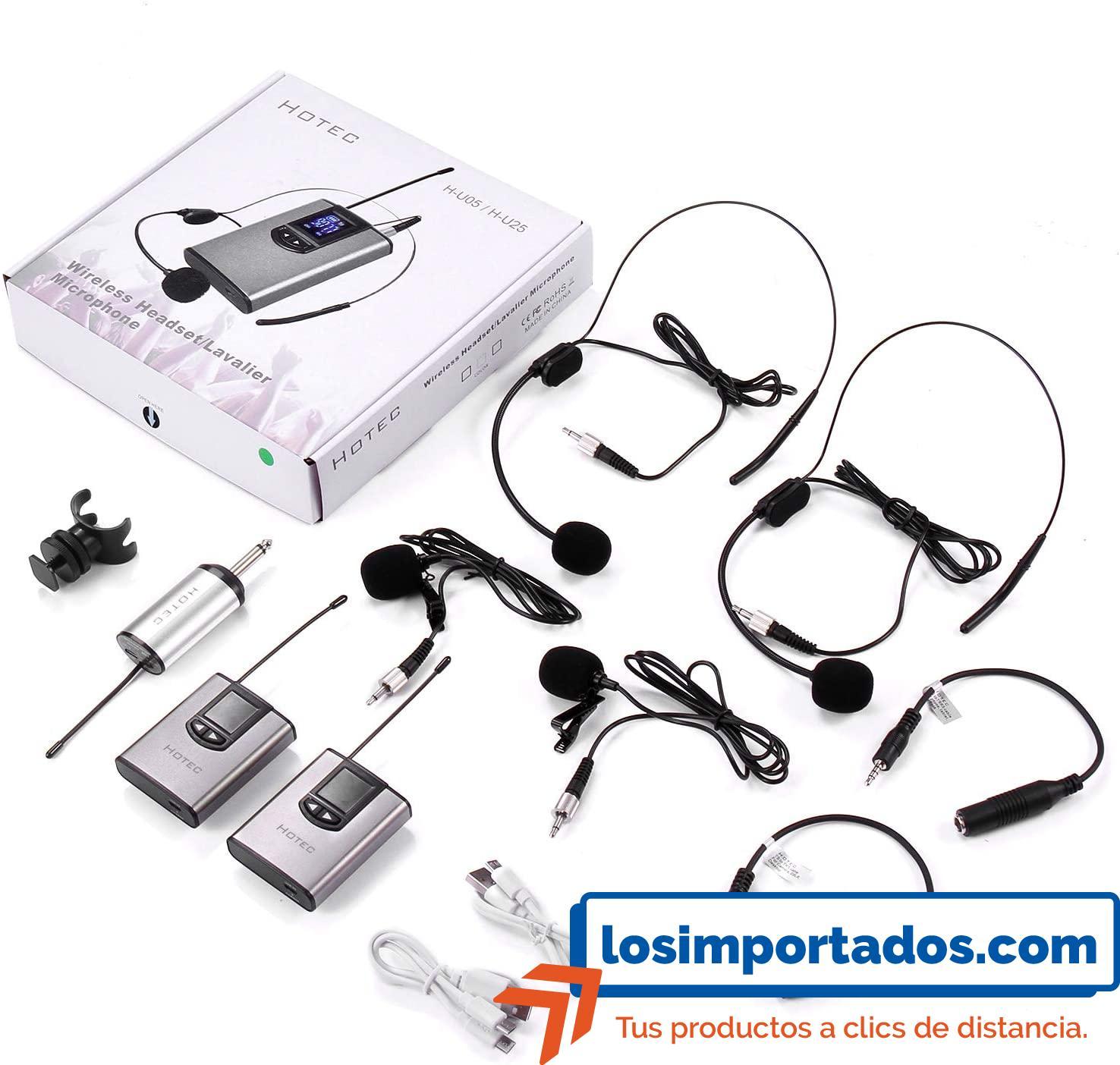 Hotec—Micrófono-de-auriculares-inalámbricos-para-grabación-y-amplificador-de-voz