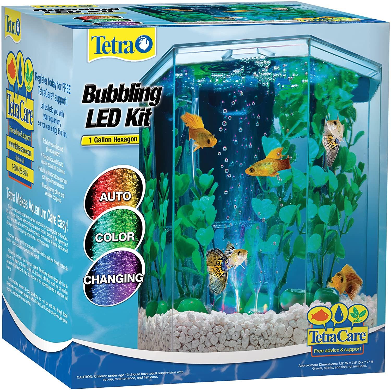 Tetra 29040 Kit de acuario hexagonal con burbujero LED, 1 galón
